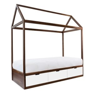 Nico & Yeye Domo Zen Twin Bed with Drawers - Walnut White