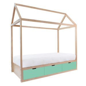 Nico & Yeye Domo Zen Twin Bed with Drawers - Maple Mint