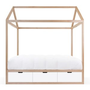 Nico & Yeye Domo Zen Twin Bed with Drawers - Maple White