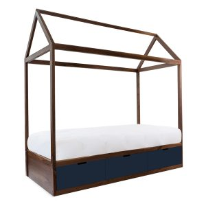 Nico & Yeye Domo Zen Twin Bed with Drawers - Walnut Deep Blue