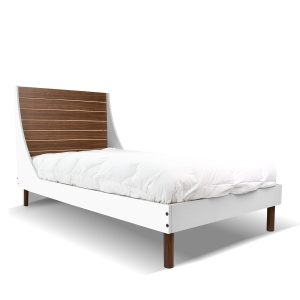 Nico & Yeye Minimo Kids Twin Bed - Walnut White