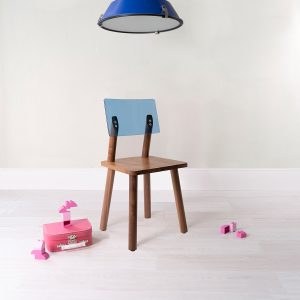 Nico & Yeye Acrylic Back Chair Set of Two - Walnut Pacific Blue
