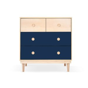 Nico & Yeye Lukka Modern 4-Drawer Dresser - Maple Deep Blue