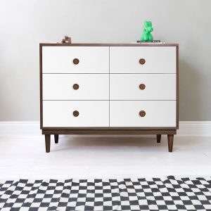 Nico & Yeye Lukka Modern 6-Drawer Dresser Walnut White