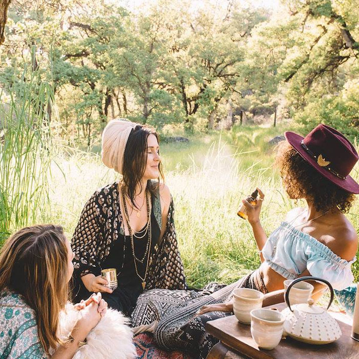 three women having a picnic in a meadow with paavani ayurveda products