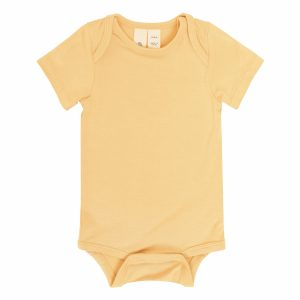 Kyte BABY Baby Spring/Summer Short Sleeve Solid Onesie - Honey