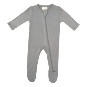 Kyte BABY Baby Solid Zipper Footie - Chrome