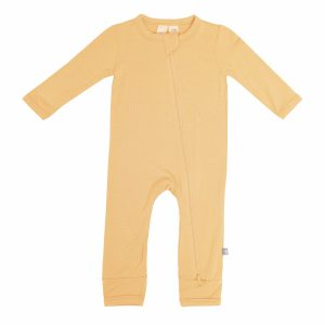 Kyte BABY Baby Spring/Summer Solid Zipper Romper - Honey