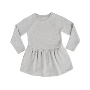 HART + LAND Toddler/Big Kid Organic Solid Long Sleeve Dress Heather Grey