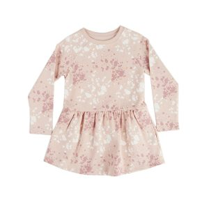 HART + LAND Toddler/Big Kid Organic Long Sleeve Dress- Splatter