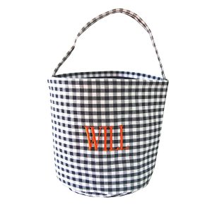 The Bella Bean Shop Personalized Halloween Bucket - Black Gingham