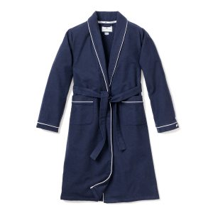 Petite Plume Navy Robe with White
