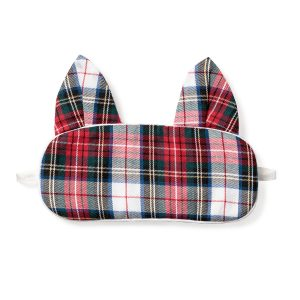 Petite Plume Festive Tartan Kitty Mask
