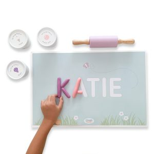 Dough Parlour Custom Name Mat and Non-toxic play dough