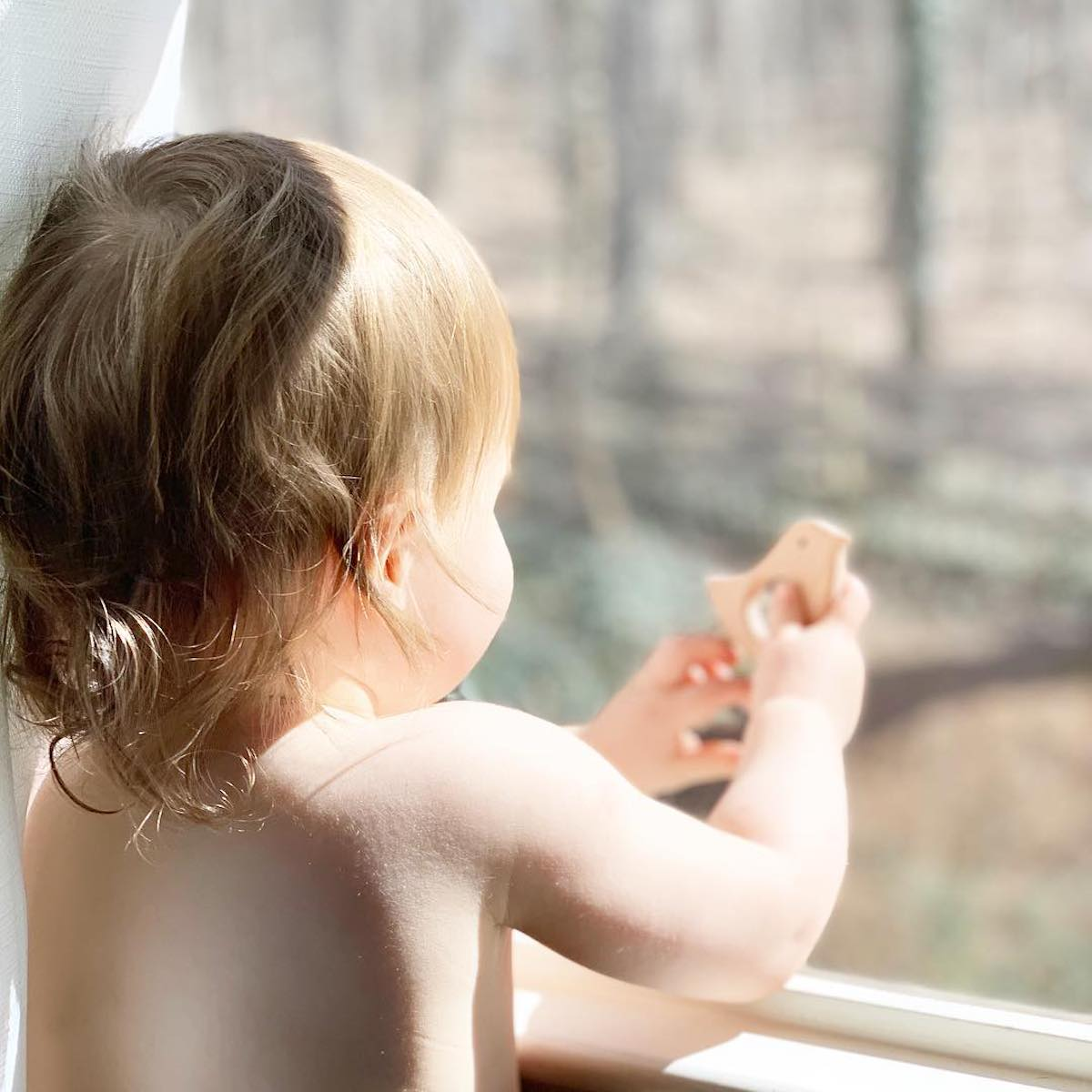 Toddler looking out the window and holding a Aspen and Maple teether