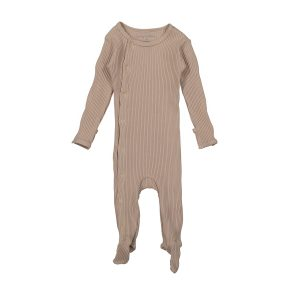 Lovely Littles Ribbed Snap Romper Mauve