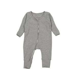 Lovely Littles Cotton Zippered Romper Heather Grey
