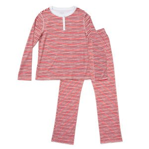 HART + LAND Women's Organic Pima Cotton PJ Set - painted stripes