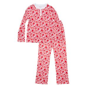 HART + LAND Women's organic pima cotton PJ set in hearts print