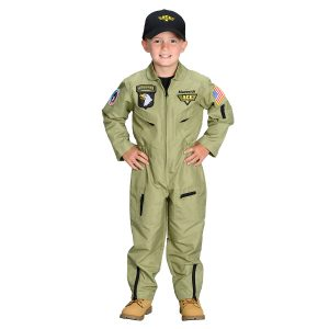 Aeromax Toddler/Big Kid Jr. Fighter Pilot Suit with Embroidered Cap