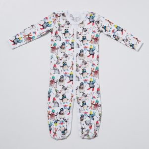 HART + LAND Pima cotton footed bodysuit PJ - penguins