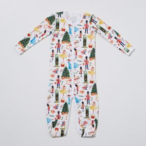 HART + LAND Baby/Toddler organic pima cotton footed bodysuit PJ - traditional christmas