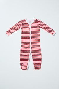 HART + LAND Organic Pima Cotton Footed Bodysuit PJ - Painted Stripes