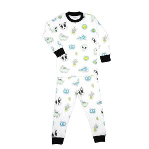 Baby Noomie Two Piece PJ Set Blue Patches