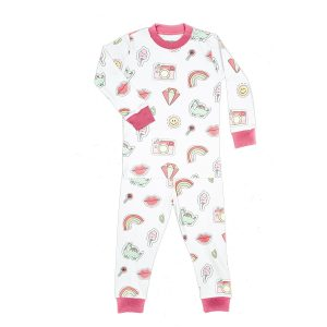 Baby Noomie Two Piece PJ Set Pink Patches