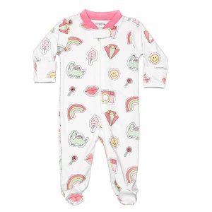 Baby Noomie Zipper Footie Pink Patches