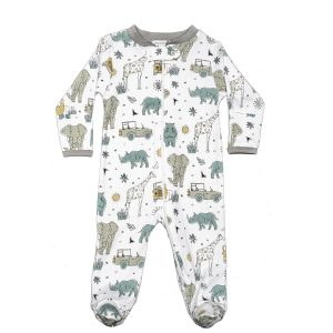 Baby Noomie Zipper Footie Safari