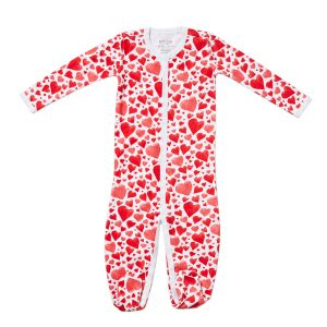 HART + LAND heart print organic cotton footed bodysuit