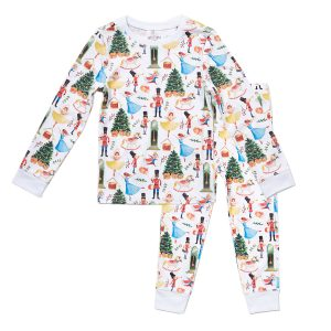 HART + LAND Kids Traditional Christmas Print PIma Cotton PJ Set