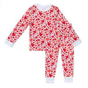 HART + LAND Organic Pima Cotton PJ Set in Hearts Print