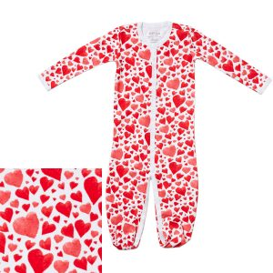 HART + LAND Baby/Toddler Organic Pima Cotton Footed Bodysuit PJ - All You Need Is Love