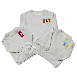 HART + LAND Baby/Toddler/Big Kid Organic Solid Personalized Sweatshirt- Colored Patches