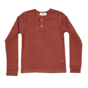 HART + LAND Baby/Toddler/Big Kid Organic Ribbed Henley Sequoia Front