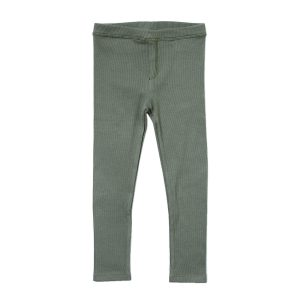 HART + LAND Baby/Toddler/Big Kid Organic Ribbed Legging Agave Green Front