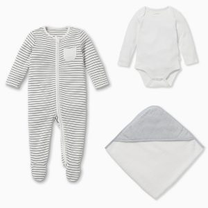 MORI Baby Soak & Sleep Gift Set - Grey Stripe