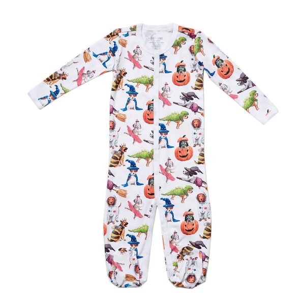 HART + LAND Baby:Toddler Organic Pima Cotton Footed Bodysuit PJ – Halloween Pups