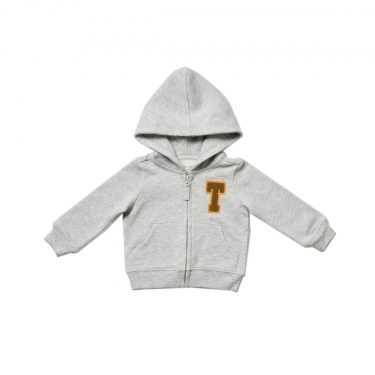 HART + LAND Baby/Toddler Organic Solid Personalized Zip Hoodie- Colored Patches
