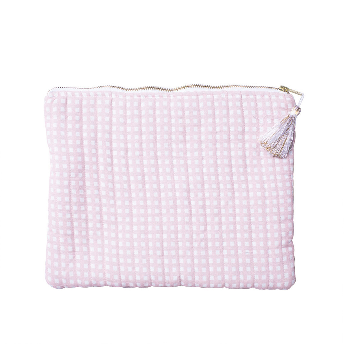 Louelle Linen Pouch Pink Gingham