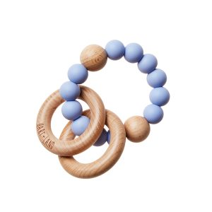 HART + LAND Teether Rings - 2 Wood + 1 Silicone Blue