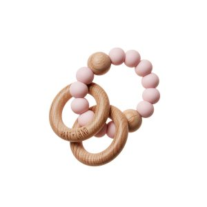 HART + LAND Teether Rings - 2 Wood + 1 Silicone Pink