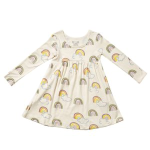 HART + LAND Toddler/Big Kid Bamboo Long Sleeve Dress- Rainbows