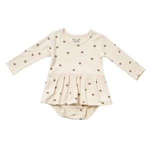 HART + LAND Baby/Toddler Bamboo Long Sleeve Bodysuit Dress- Polka Dots