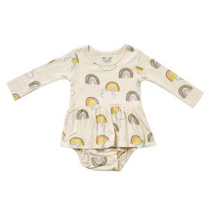 HART + LAND Baby/Toddler Bamboo Long Sleeve Bodysuit Dress- Rainbows