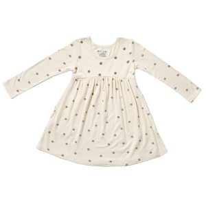HART + LAND Toddler/Big Kid Bamboo Long Sleeve Dress- Polka Dots Simply Taupe