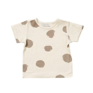 HART + LAND Baby/Toddler/Big Kid Bamboo Short Sleeve Crew Tee- Organic Dots Simply Taupe