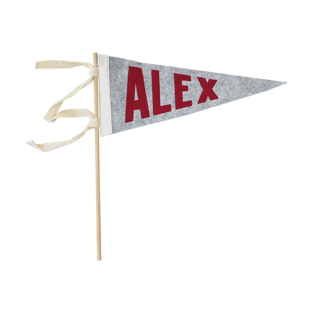 The Letterman Co Name Pennant With Stick - Grey